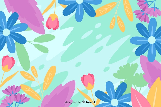 Floral colorful flat design abstract background Free Vector