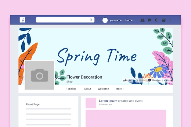 Floral colorful spring facebook cover Free Vector