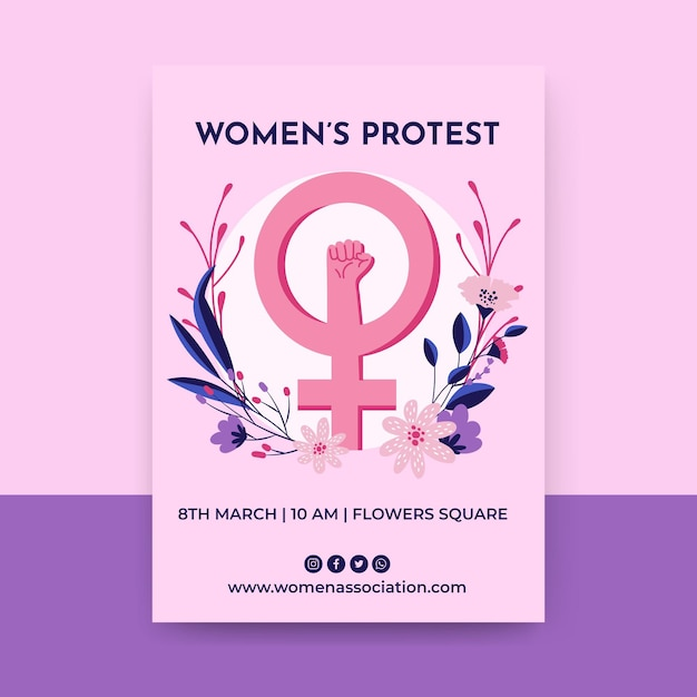 Floral colorful women's day flyer Free Vector