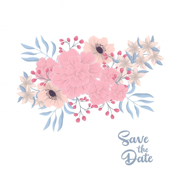 Floral composition with colorful flower. Free Vector
