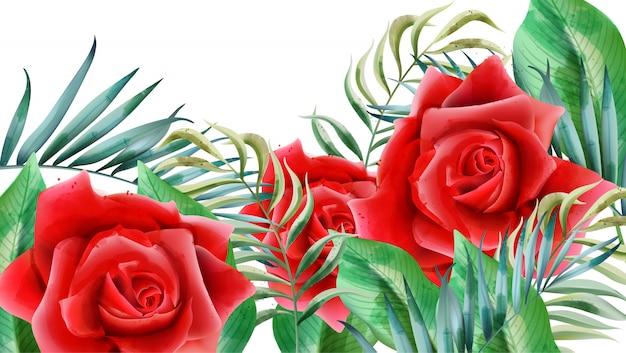 Цветочная композиция с красными розами, бутонами роз и листьями Бесплатные векторы