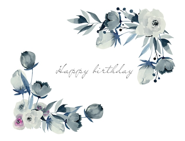 Floral corner borders of watercolor indigo roses and plants, hand drawn on a white background Premium Vector
