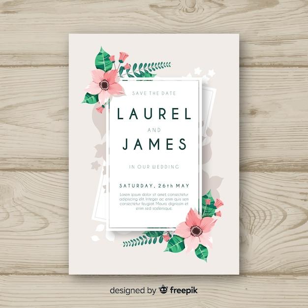 Floral corner wedding invitation template Free Vector