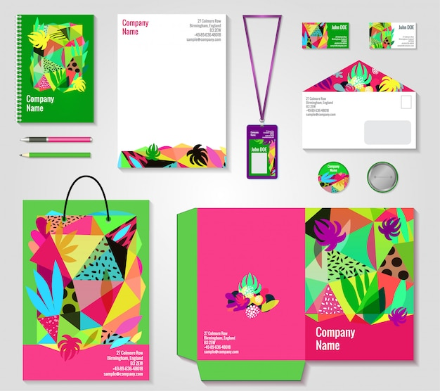 Floral corporate identity templates set Free Vector