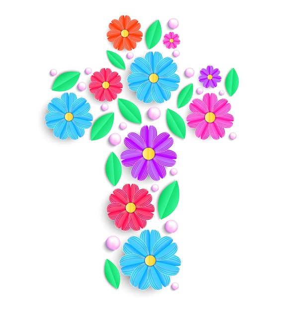 Floral cross with colorful flowers on white background. Premium Vector