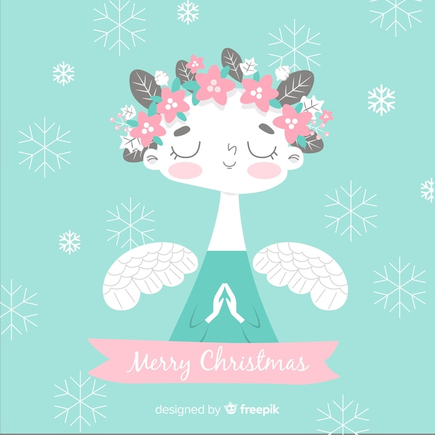 Floral crown christmas angel background Free Vector