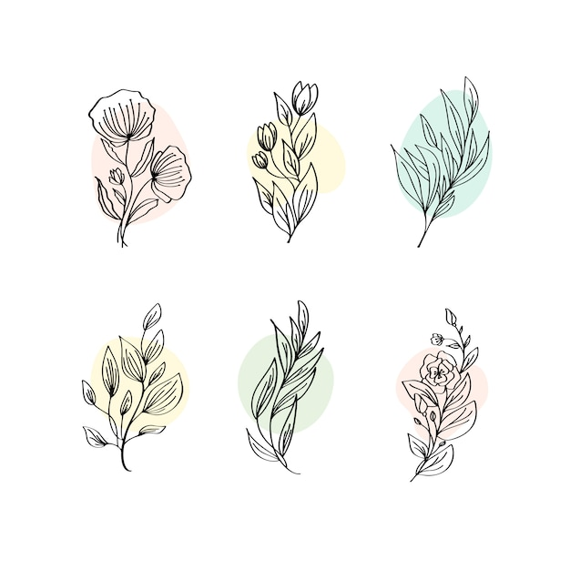 Floral decoration branch leaf plant line stroke icon pictogram symbol set collection Premium Vector