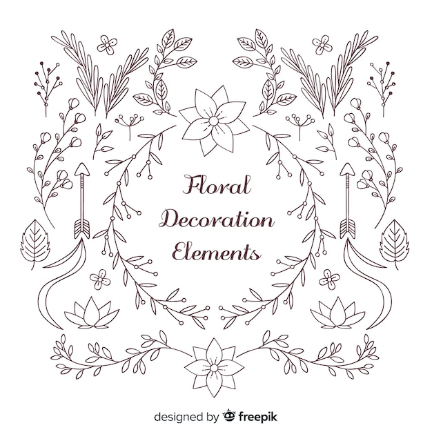 Floral decoration element collection Free Vector