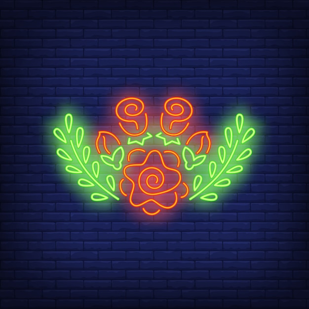 Floral decoration neon sign Free Vector