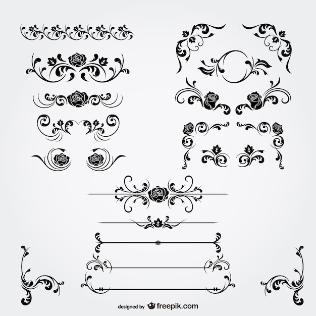 Floral decorations and page dividers Free Vector