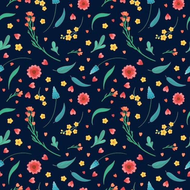 Цветочный декоративный фон. цветущие луговые растения. цветы цветет и оставляет плоский ретро бесшовные модели. абстрактные полевые цветы на синем фоне. Бесплатные векторы