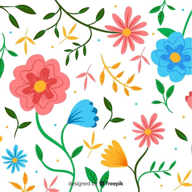 Floral decorative background flat design Free Vector