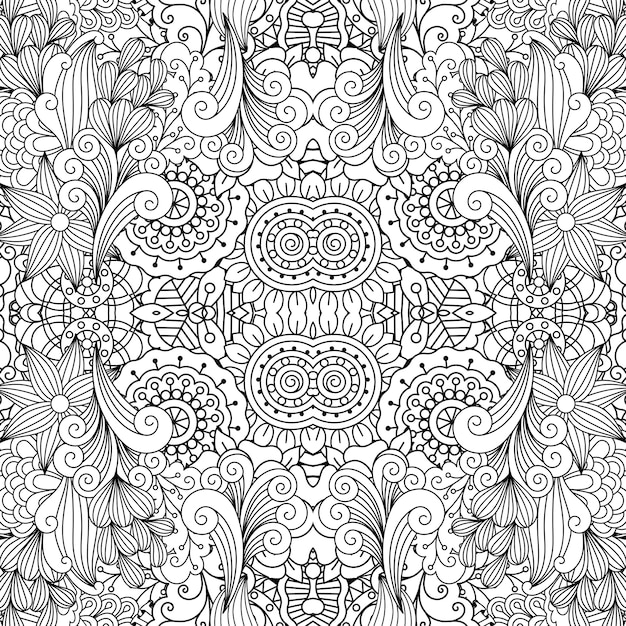 Floral decorative doodle linear pattern Premium Vector