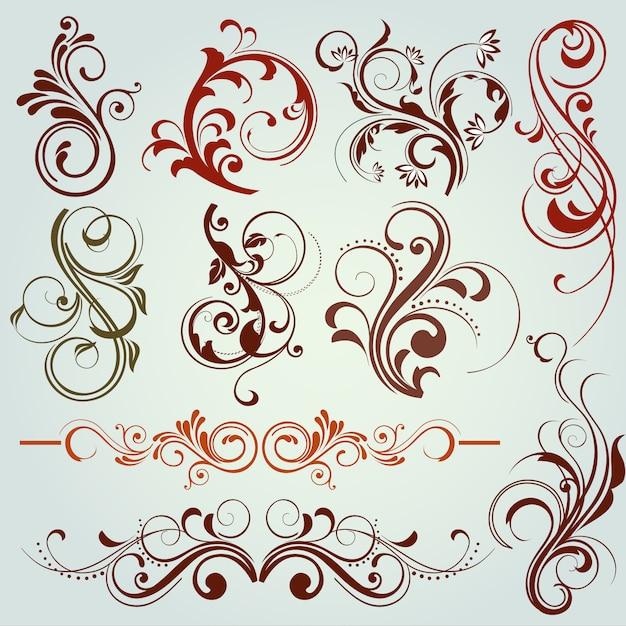 Цветочные декоративные элементы Бесплатные векторы