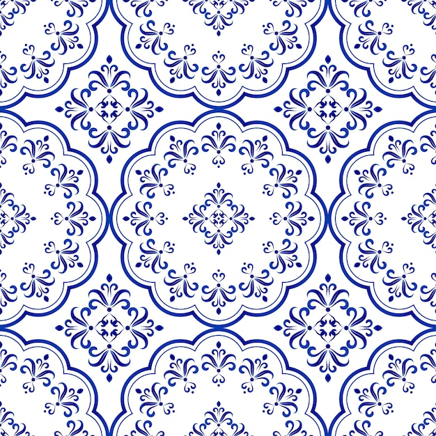 Floral decorative tile design, seamless blue and white ceramic pattern Premium Vector