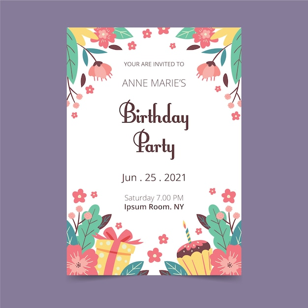 Floral design birthday card Free Vector