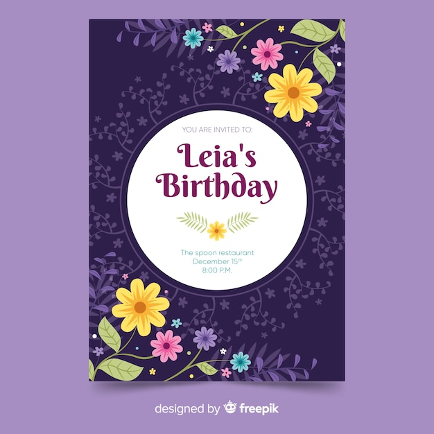 Floral design birthday invitation template Free Vector