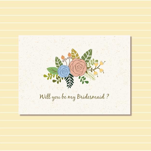Floral design for bride card invitation Premium Vector