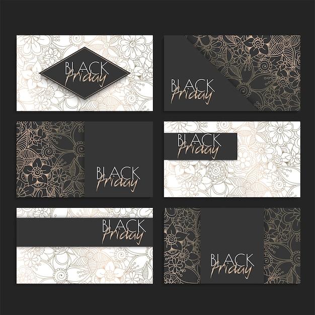 ブラックフライデーセール、ベクトルイラスト花柄デザインカードセット 無料ベクター