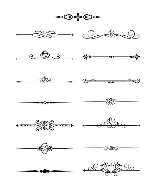 Винтажные разделители элементов цветочного дизайна в черном цвете. оформление страницы. векторная иллюстрация. изолированные Бесплатные векторы
