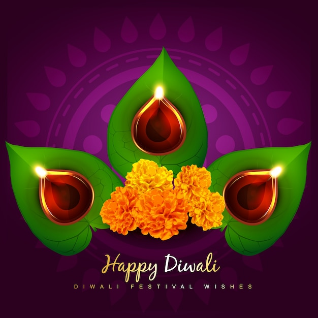 Floral design for diwali festival Free Vector