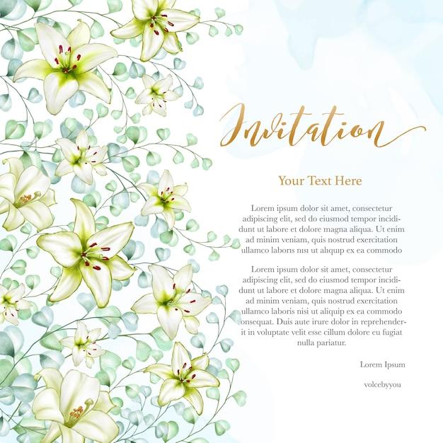 Floral design wedding invitation card Premium Vector