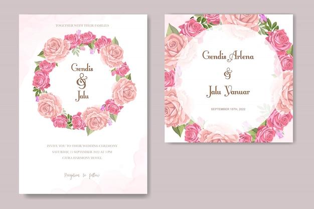 Floral design wedding invitation Premium Vector