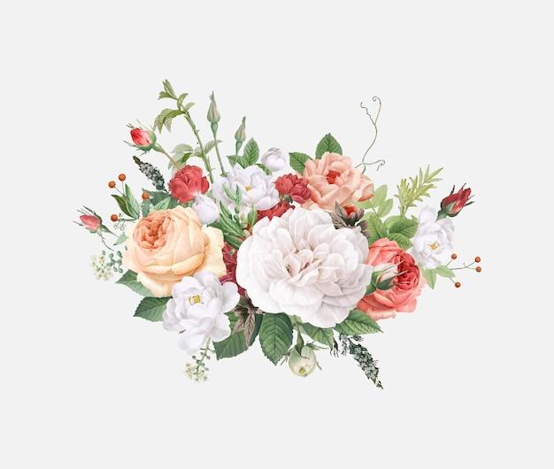 Floral design wedding invitation Free Vector