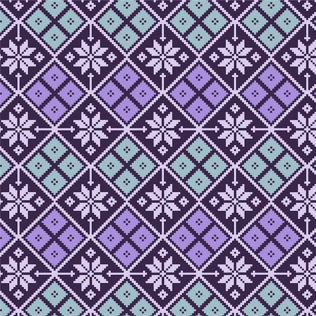 Floral diamonds songket pattern Premium Vector