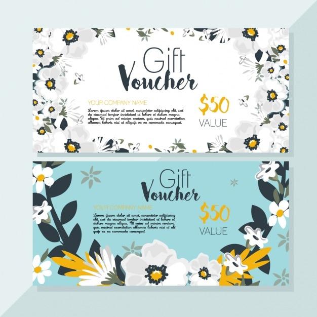 Floral discount voucher Free Vector