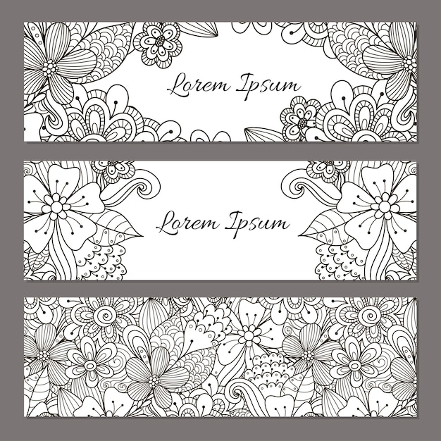 Floral doodle banners set. black and white beautiful flyer templates for your design. vector illustration Premium Vector