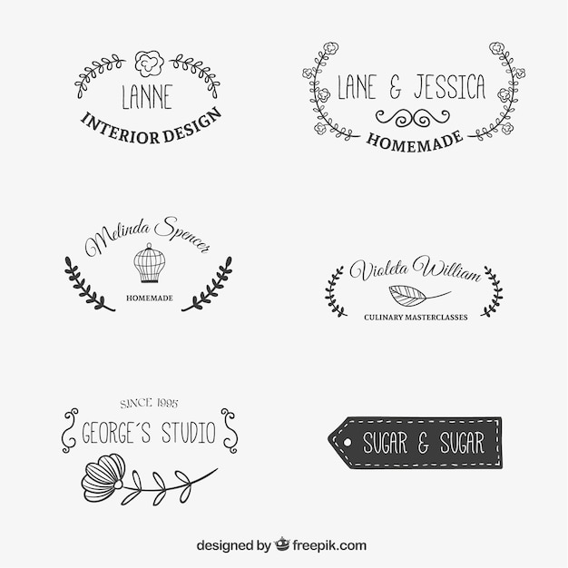floral drawn logo templates vector free download