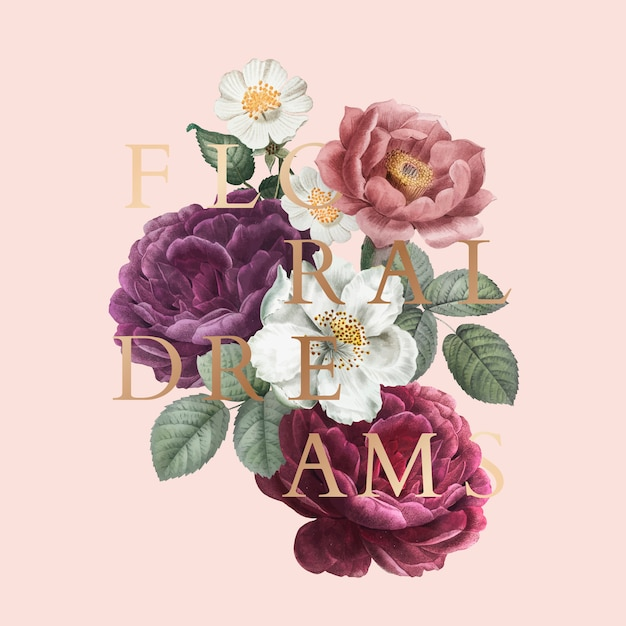 Floral dreams badge Free Vector