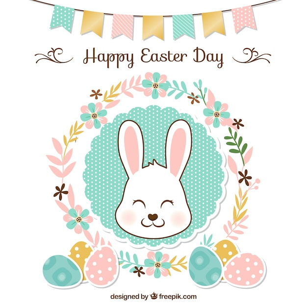 Floral easter background with garland and cute rabbit Free Vector