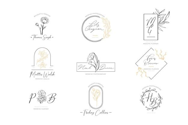 Floral elegant logos set Free Vector