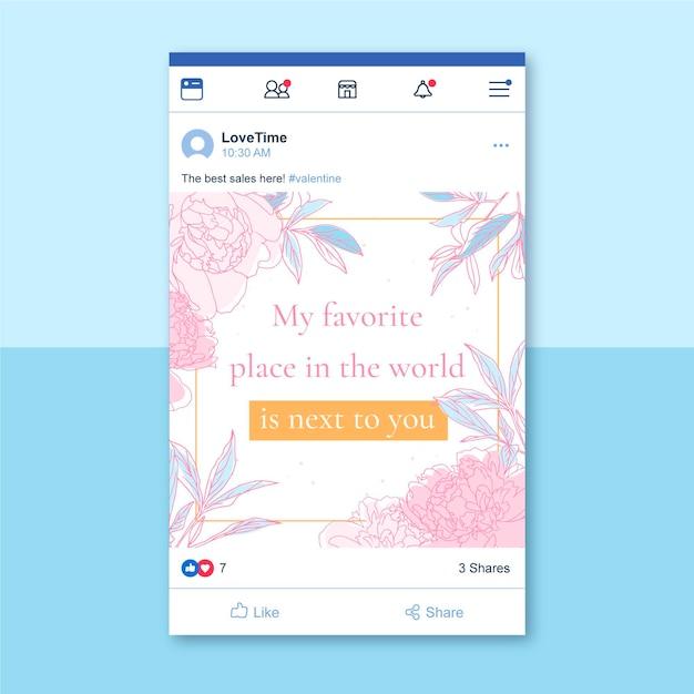 Post facebook floreale elegante di san valentino Vettore gratuito