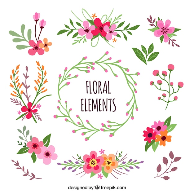 floral elements vector  free download, Beautiful flower
