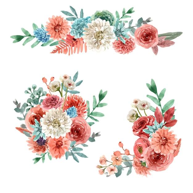 꽃 엠 버 광선 꽃다발 수채화 그림. 무료 벡터