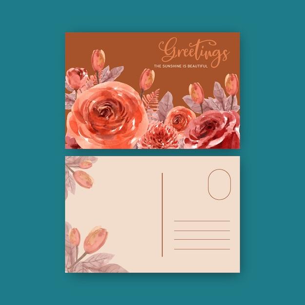 Флористический тлеющий уголь букет с листьями, розовые акварельные иллюстрации. Бесплатные векторы