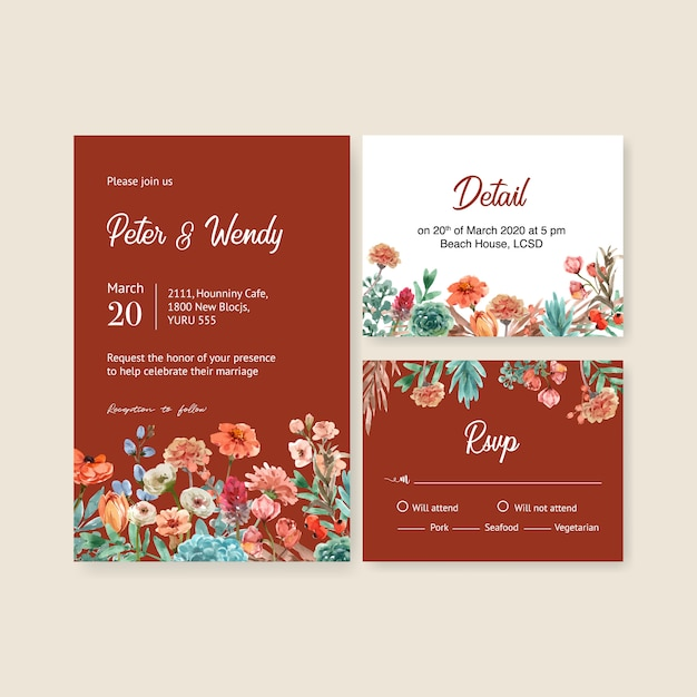 Floral ember glow wedding card with petunia, anemone watercolor  illustration. Free Vector