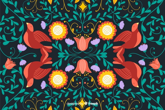 Floral embroidery background Free Vector