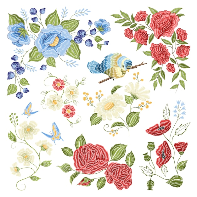 Floral embroidery colorful pattern pattern Free Vector