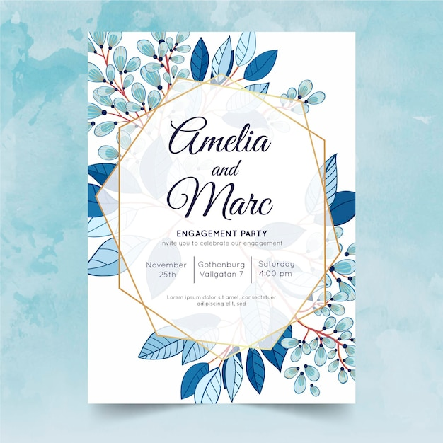 Floral engagement invitation template Free Vector