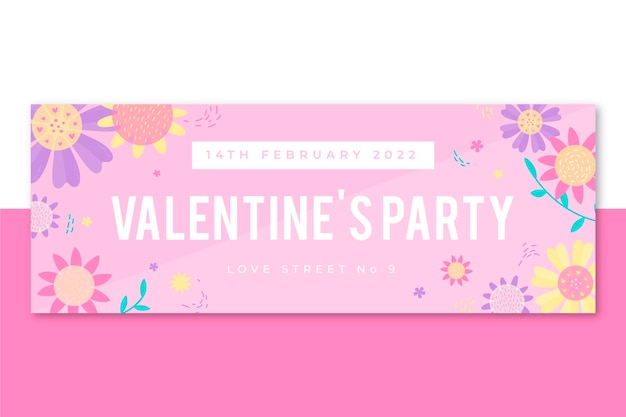 Floral facebook cover valentine's day template Free Vector