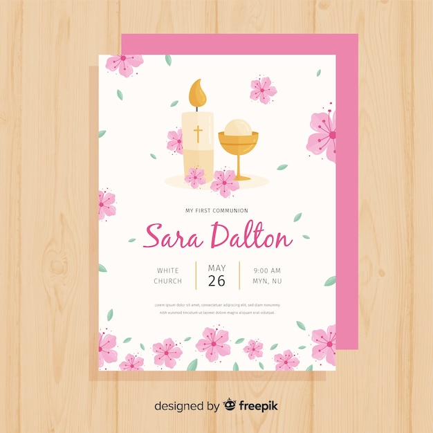 Floral First Communion Invitation Template Vector Free Download