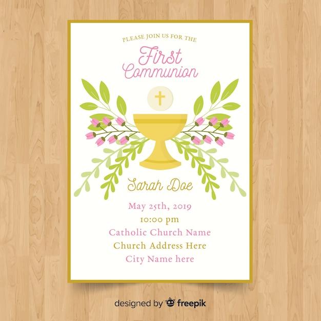 Modello di invito prima comunione floreale Vettore gratuito