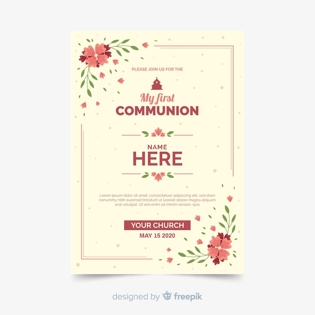 Floral first communion invitation template Free Vector