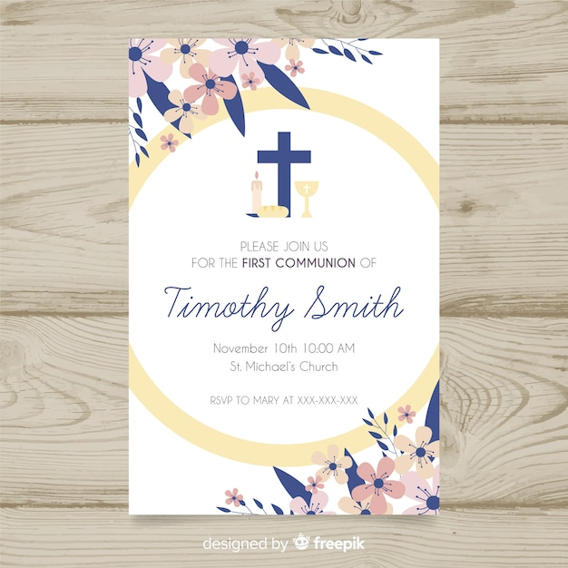 Floral first communion invitation Free Vector