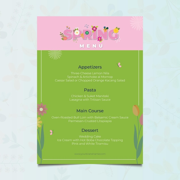 Шаблон меню весеннего ресторана с цветочным дизайном Бесплатные векторы