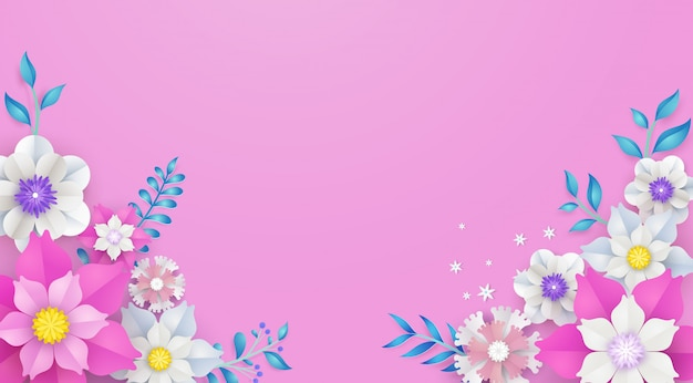 Floral and flower frame template in vector paper art concept. Premium Vector